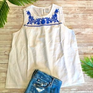 J.Crew White & Blue Embroidered Top